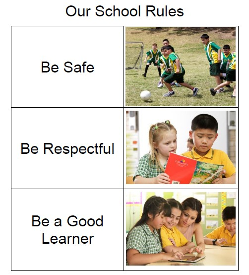 School rules: be safe, be respectful, be a good learner